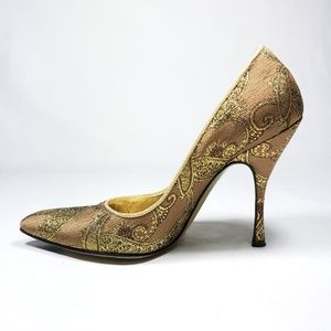 Dolce & Gabbana Gold Tapestry Heels size 6.5